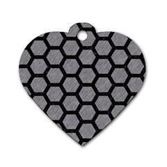 Hexagon2 Black Marble & Gray Colored Pencil (r) Dog Tag Heart (one Side)