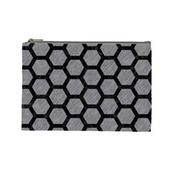 Hexagon2 Black Marble & Gray Colored Pencil (r) Cosmetic Bag (large)