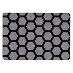 Hexagon2 Black Marble & Gray Colored Pencil (r) Samsung Galaxy Tab 8 9  P7300 Flip Case