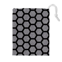 Hexagon2 Black Marble & Gray Colored Pencil (r) Drawstring Pouches (extra Large)