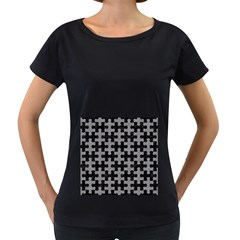 Puzzle1 Black Marble & Gray Colored Pencil Women s Loose Fit T Shirt (black)