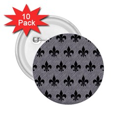 Royal1 Black Marble & Gray Colored Pencil 2 25  Buttons (10 Pack)