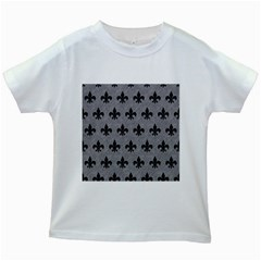 Royal1 Black Marble & Gray Colored Pencil Kids White T Shirts