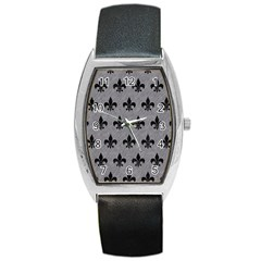 Royal1 Black Marble & Gray Colored Pencil Barrel Style Metal Watch