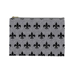 Royal1 Black Marble & Gray Colored Pencil Cosmetic Bag (large)