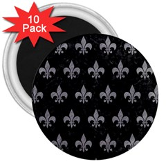 Royal1 Black Marble & Gray Colored Pencil (r) 3  Magnets (10 Pack)