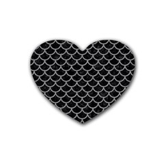 Scales1 Black Marble & Gray Colored Pencil Heart Coaster (4 Pack)