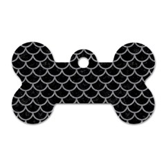 Scales1 Black Marble & Gray Colored Pencil Dog Tag Bone (one Side)