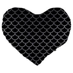 Scales1 Black Marble & Gray Colored Pencil Large 19  Premium Heart Shape Cushions