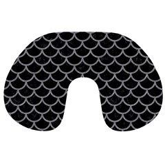 Scales1 Black Marble & Gray Colored Pencil Travel Neck Pillows