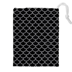 Scales1 Black Marble & Gray Colored Pencil Drawstring Pouches (xxl)