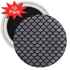 Scales1 Black Marble & Gray Colored Pencil (r) 3  Magnets (10 Pack)