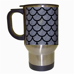 Scales1 Black Marble & Gray Colored Pencil (r) Travel Mugs (white)