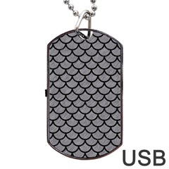 Scales1 Black Marble & Gray Colored Pencil (r) Dog Tag Usb Flash (two Sides)