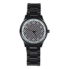 Scales1 Black Marble & Gray Colored Pencil (r) Stainless Steel Round Watch