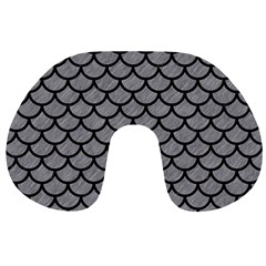 Scales1 Black Marble & Gray Colored Pencil (r) Travel Neck Pillows
