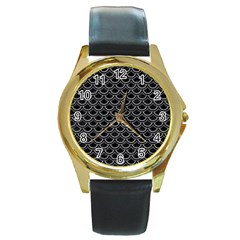 Scales2 Black Marble & Gray Colored Pencil Round Gold Metal Watch