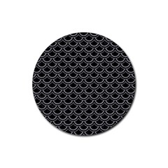 Scales2 Black Marble & Gray Colored Pencil Rubber Round Coaster (4 Pack)