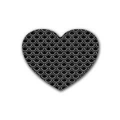 Scales2 Black Marble & Gray Colored Pencil Rubber Coaster (heart)