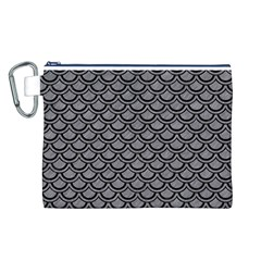 Scales2 Black Marble & Gray Colored Pencil (r) Canvas Cosmetic Bag (l)