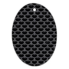 Scales3 Black Marble & Gray Colored Pencil Ornament (oval)
