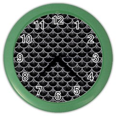Scales3 Black Marble & Gray Colored Pencil Color Wall Clocks