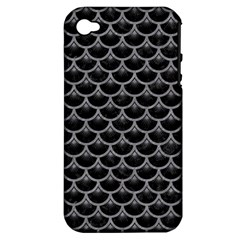 Scales3 Black Marble & Gray Colored Pencil Apple Iphone 4/4s Hardshell Case (pc+silicone)