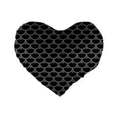 Scales3 Black Marble & Gray Colored Pencil Standard 16  Premium Heart Shape Cushions