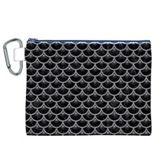 Scales3 Black Marble & Gray Colored Pencil Canvas Cosmetic Bag (xl)