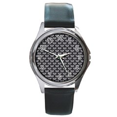 Scales3 Black Marble & Gray Colored Pencil (r) Round Metal Watch