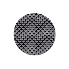 Scales3 Black Marble & Gray Colored Pencil (r) Magnet 3  (round)
