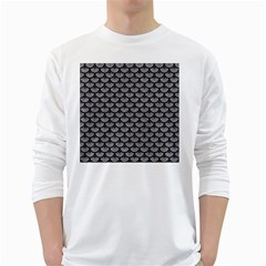 Scales3 Black Marble & Gray Colored Pencil (r) White Long Sleeve T Shirts