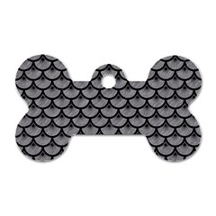 Scales3 Black Marble & Gray Colored Pencil (r) Dog Tag Bone (one Side)