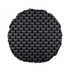 Scales3 Black Marble & Gray Colored Pencil (r) Standard 15  Premium Flano Round Cushions