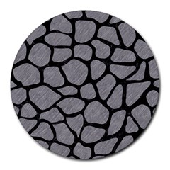 Skin1 Black Marble & Gray Colored Pencil Round Mousepads