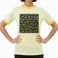 Skin1 Black Marble & Gray Colored Pencil Women s Fitted Ringer T Shirts