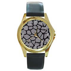 Skin1 Black Marble & Gray Colored Pencil Round Gold Metal Watch