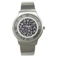 Skin1 Black Marble & Gray Colored Pencil Stainless Steel Watch