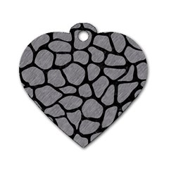 Skin1 Black Marble & Gray Colored Pencil Dog Tag Heart (two Sides)