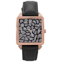 Skin1 Black Marble & Gray Colored Pencil Rose Gold Leather Watch