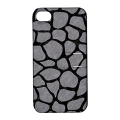 Skin1 Black Marble & Gray Colored Pencil Apple Iphone 4/4s Hardshell Case With Stand