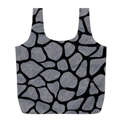 Skin1 Black Marble & Gray Colored Pencil Full Print Recycle Bags (l)