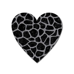 Skin1 Black Marble & Gray Colored Pencil (r) Heart Magnet