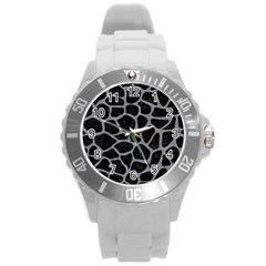 Skin1 Black Marble & Gray Colored Pencil (r) Round Plastic Sport Watch (l)