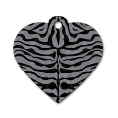 Skin2 Black Marble & Gray Colored Pencil (r) Dog Tag Heart (two Sides)
