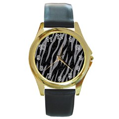 Skin3 Black Marble & Gray Colored Pencil Round Gold Metal Watch