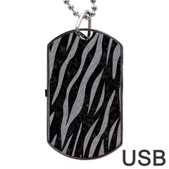 Skin3 Black Marble & Gray Colored Pencil Dog Tag Usb Flash (two Sides)