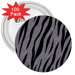 Skin3 Black Marble & Gray Colored Pencil (r) 3  Buttons (100 Pack)