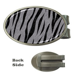 Skin3 Black Marble & Gray Colored Pencil (r) Money Clips (oval)