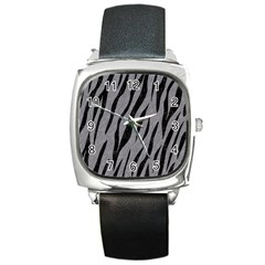 Skin3 Black Marble & Gray Colored Pencil (r) Square Metal Watch